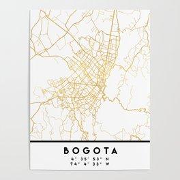 BOGOTA COLOMBIA CITY STREET MAP ART Poster