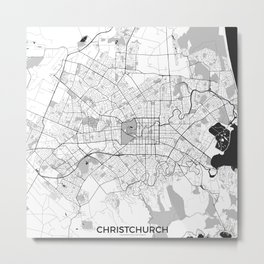 Christchurch Map Gray Metal Print
