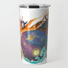 Heart Painting of Girl and Boy on Different Planets And the Galaxy Between Their Trees Travel Mug