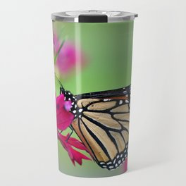 Monarch Butterfly Pollinating Deep Pink Cosmos Flower Travel Mug