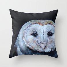 Dark Barn Owl Throw Pillow