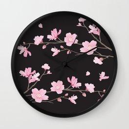 Cherry Blossom - Black Wall Clock