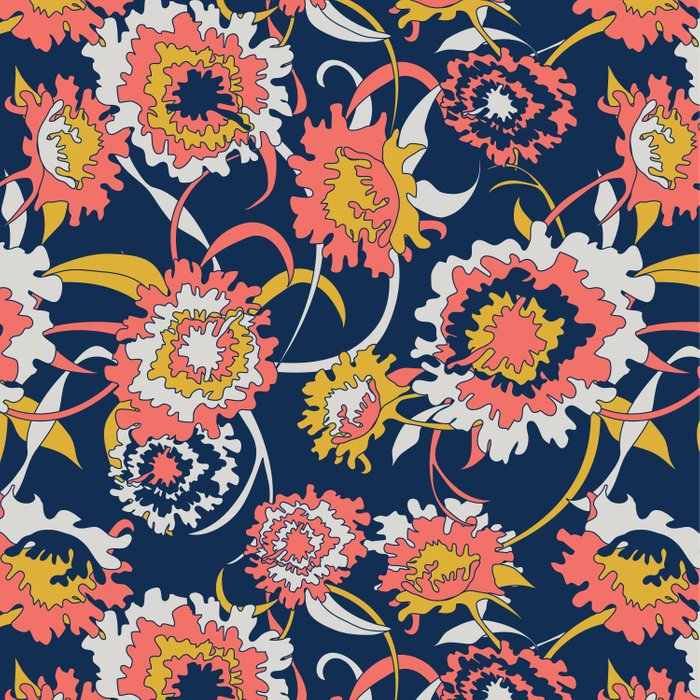 Bold Chinoiserie Floral - Limited Color Palette 2019 Comforters