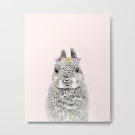 Bunny Rabbit Wearing Flower Crown Metal Print