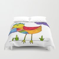 "chicken Duvet Covers featuring ""Chicken""  by Holly Lynn Clark"