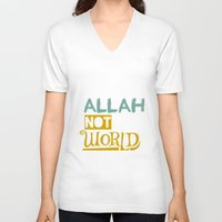 islam V-neck T-shirts featuring Follow Allah Not The World by Berberism