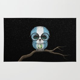 Baby Owl with Glasses and Guatemalan Flag Rug