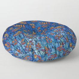 Royal blue and gold fall leaf pattern, modern,chic,Royal blue, gold ,fall leaf, pattern, modern,chic Floor Pillow