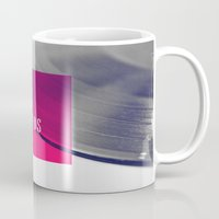 records Mugs featuring Records - Pink by Galaxy Eyes