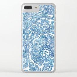Blue Boho Paisley Pattern II Clear iPhone Case