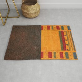 N68 - Oriental Traditional Moroccan Style with Original Leather Cover Artwork Rug