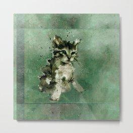 Cute green cat Watercolor Painting Illustration Metal Print