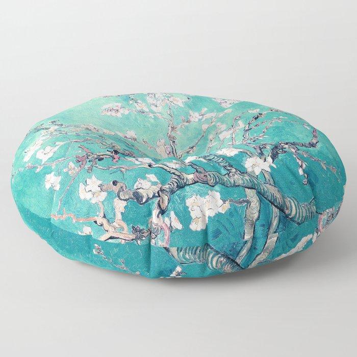 Vincent Van Gogh Almond Blossoms Turquoise Floor Pillow