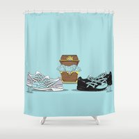 saga Shower Curtains featuring Diamond Gel Lyte V & Saga by RaymondDesignz
