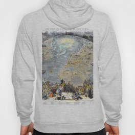 World map wall art 1876 dorm decor mappemonde of costumes and uniforms Hoody