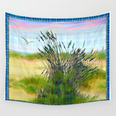 Plaid Beachscape with Seagrass Wall Tapestry