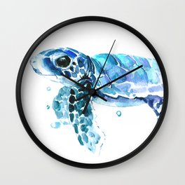 Sea Turtle Tortoiseblue turtle cartoon children art Wall Clock
