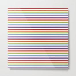 Modern artistic geometrical colorful violet orange green stripes Metal Print