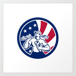 American Drainlayer USA Flag Icon Art Print