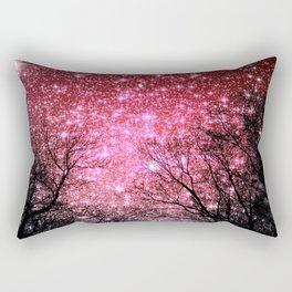 Black Trees Pink Sparkle Space Rectangular Pillow