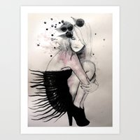 birdy Art Prints featuring Birdy by Sarah Bochaton