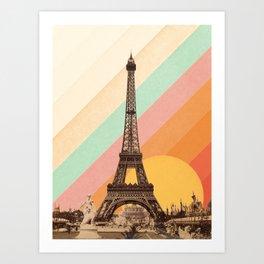 Rainbow Sky Above The Eiffel Tower Art Print