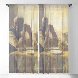 African American Masterpiece 'The Thankful Poor' by Henry Ossawa Tanner Sheer Curtain