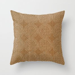 African, Spotted, Mudcloth, Bronze, Wall Art Boho Throw Pillow