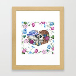 Floral Kissing Skulls Framed Art Print