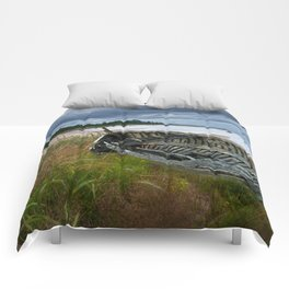 Shipwrecked Wooden Boat on Lakeshore with Sandy Beach and Dune Grass Comforters