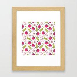 Modern pink green beach summer pattern typography Framed Art Print
