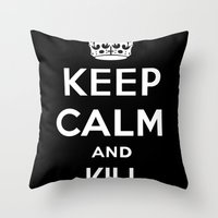 keep calm Throw Pillows featuring Keep Calm by Lunaramour