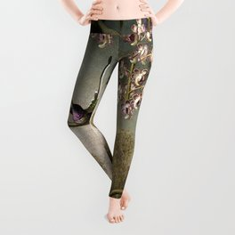 Orchids and Spray Orchids with Hummingbird by Martin Johnson Heade Leggings