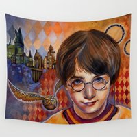 quidditch Wall Tapestries featuring Harry's First Quidditch Match by S.G. DeCarlo