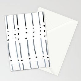 black and white dots and dashes boho modern Stationery Cards