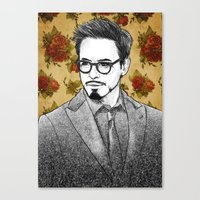 robert downey jr Canvas Prints featuring ROBERT DOWNEY JR by FISHNONES