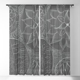 Mandala´s flowers Sheer Curtain