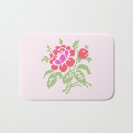 Embroidered red rose Bath Mat