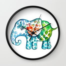 Rainbow Elephant Wall Clock