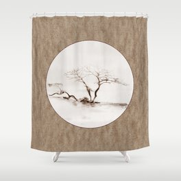 Scots Pine Paper Bag Sepia Shower Curtain