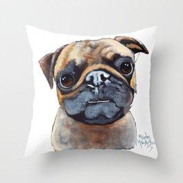 I AM A PUG by Shirley MacArthur Throw Pillow