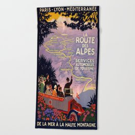 Vintage poster - Route des Alpes, France Beach Towel