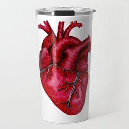 Anatomical Heart Painting Red Travel Mug