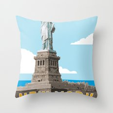 New York Travel Poster Throw Pillow