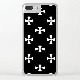 Black and White Cross Patterns Clear iPhone Case