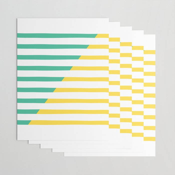 Beach Stripes Green Yellow Wrapping Paper