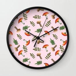 Positive mushrooms pattern Wall Clock