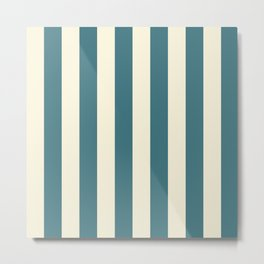 Blue-green and cream  vertical stripes Metal Print