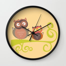 Art Print Nursery Baby Infant Kids Home Wall Decor Modern Graphic 2 Color Birds Owls on a Branch Wall Clock