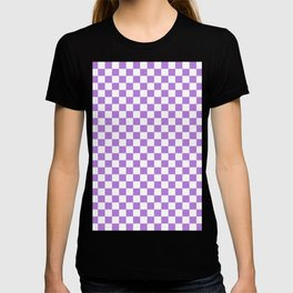 White and Lavender Violet Checkerboard T-shirt